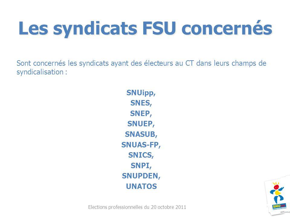 Sont concernés les syndicats ayant des électeurs au CT dans leurs champs de syndicalisation : SNUipp, SNES, SNEP, SNUEP, SNASUB, SNUAS-FP, SNICS, SNPI
