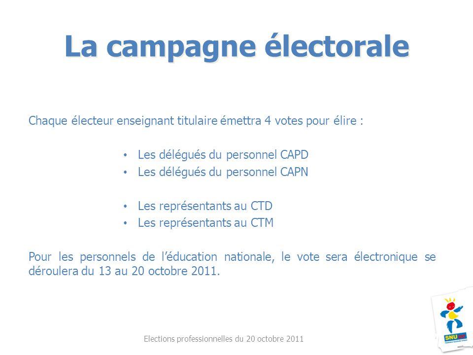 Chaque électeur enseignant titulaire émettra 4 votes pour élire : Les délégués du personnel CAPD Les délégués du personnel CAPN Les représentants au C