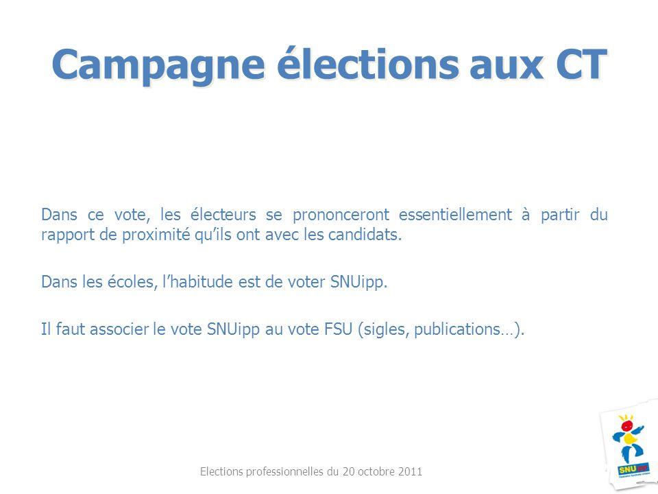 Campagne élections aux CT Elections professionnelles du 20 octobre 2011 Dans ce vote, les électeurs se prononceront essentiellement à partir du rapport de proximité qu'ils ont avec les candidats.