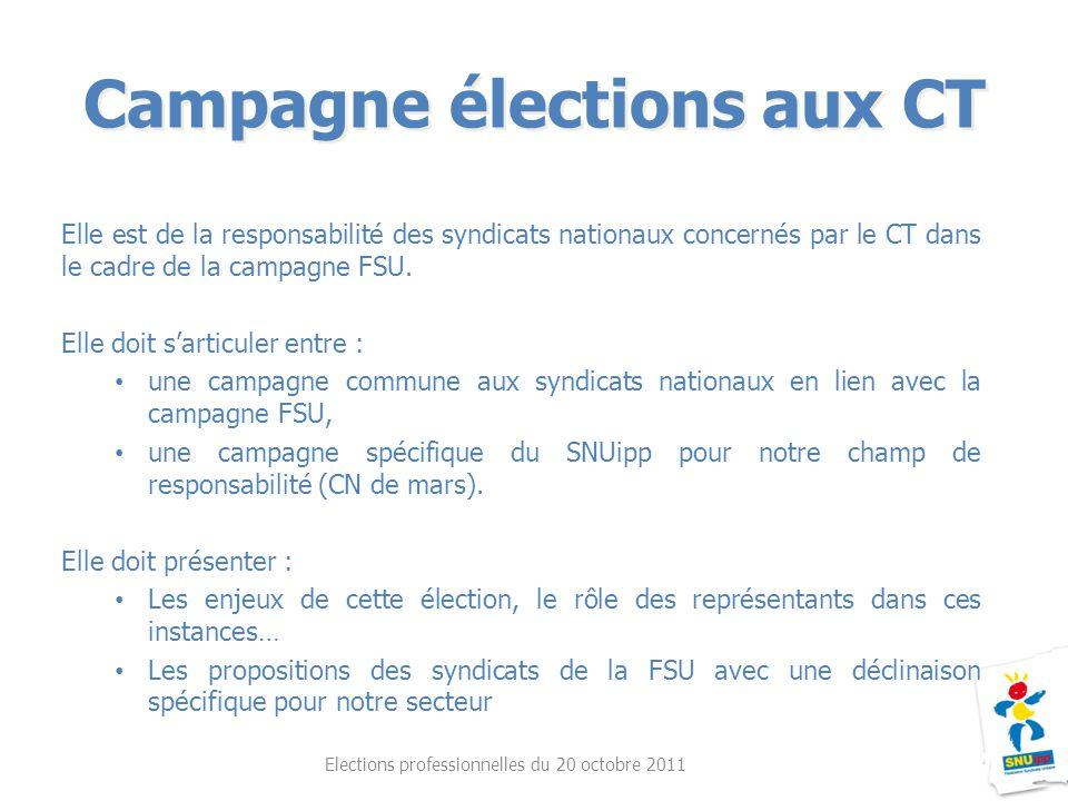 Campagne élections aux CT Elections professionnelles du 20 octobre 2011 Elle est de la responsabilité des syndicats nationaux concernés par le CT dans le cadre de la campagne FSU.