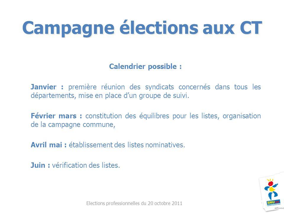 Campagne élections aux CT Elections professionnelles du 20 octobre 2011 Calendrier possible : Janvier : première réunion des syndicats concernés dans tous les départements, mise en place d'un groupe de suivi.