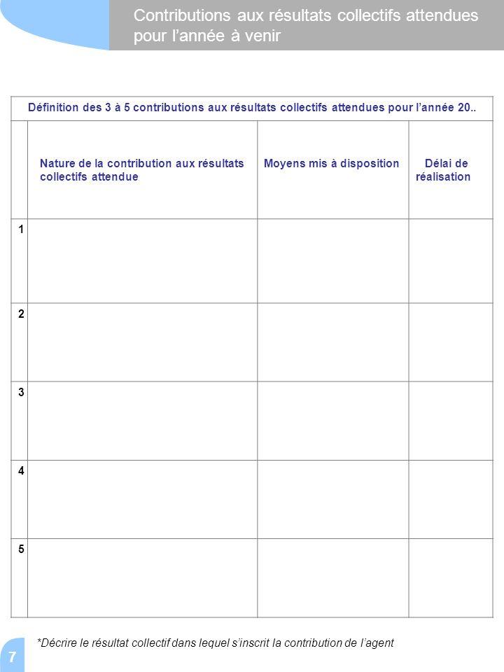 7 Contributions aux résultats collectifs attendues pour l'année à venir Définition des 3 à 5 contributions aux résultats collectifs attendues pour l'a