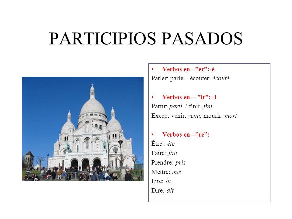 "LE PASSÉ COMPOSÉ Formación : presente del verbo ""avoir"" o ""être""+participio pasado Equivalencia: pretérito perfecto simple (comí) Pretérito`perfecto c"