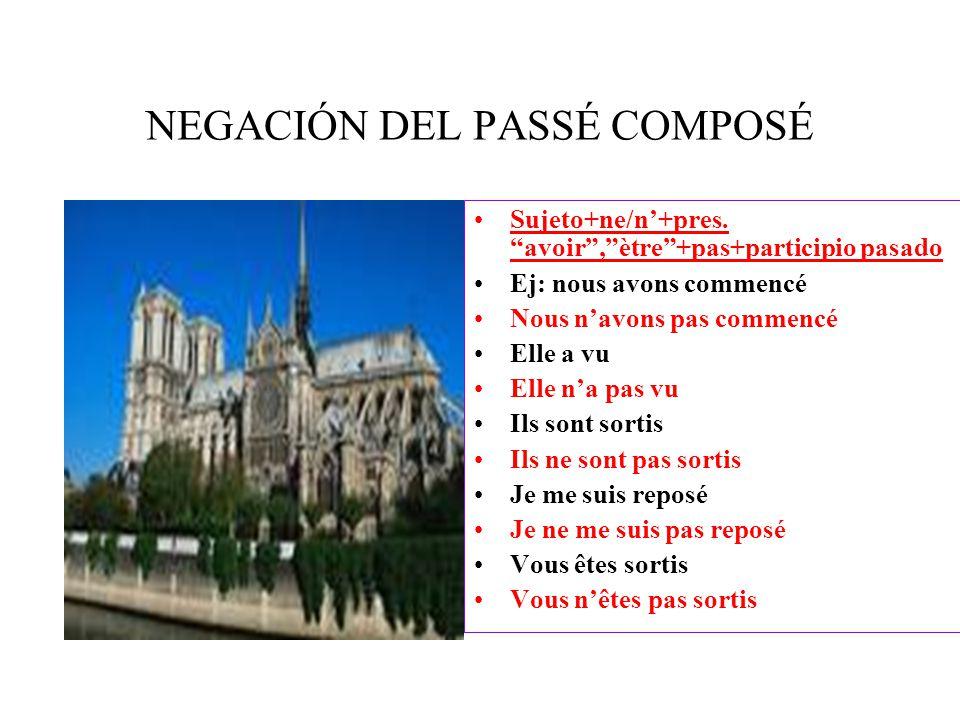 NEGACIÓN DEL PASSÉ COMPOSÉ Sujeto+ne/n'+pres.