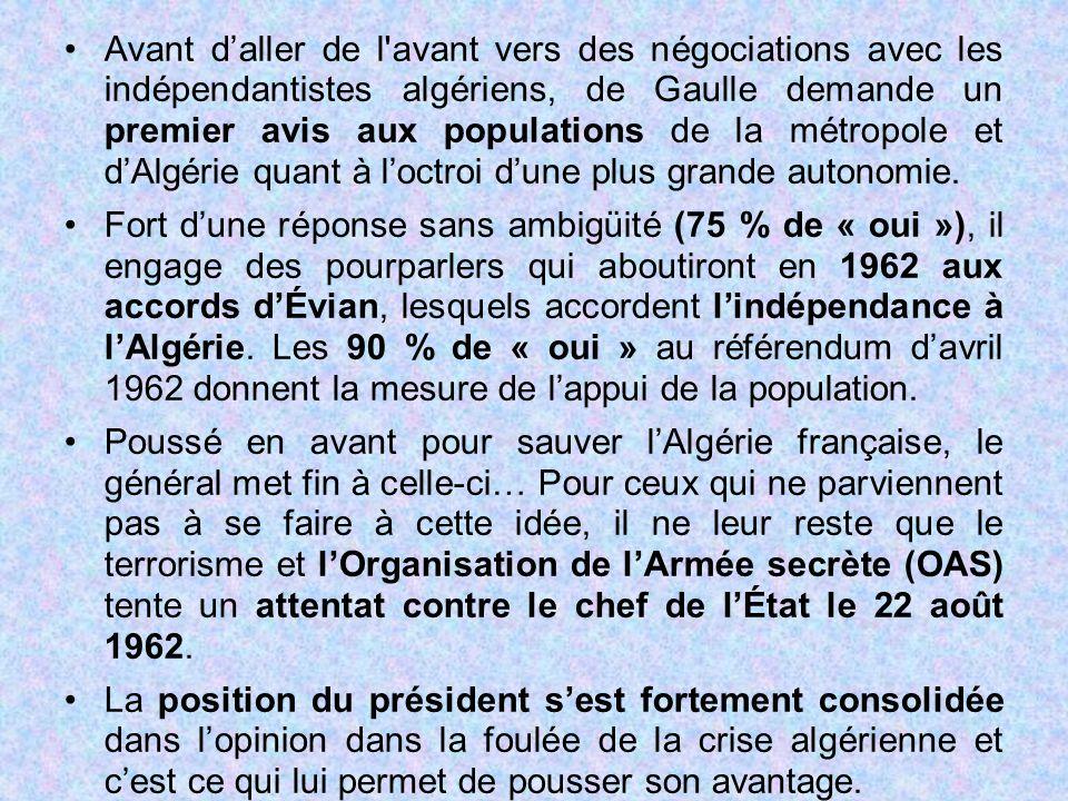 Avant d'aller de l'avant vers des négociations avec les indépendantistes algériens, de Gaulle demande un premier avis aux populations de la métropole