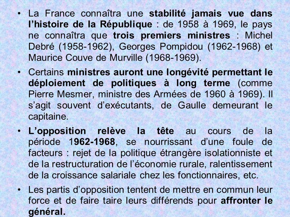 La France connaîtra une stabilité jamais vue dans l'histoire de la République : de 1958 à 1969, le pays ne connaîtra que trois premiers ministres : Mi