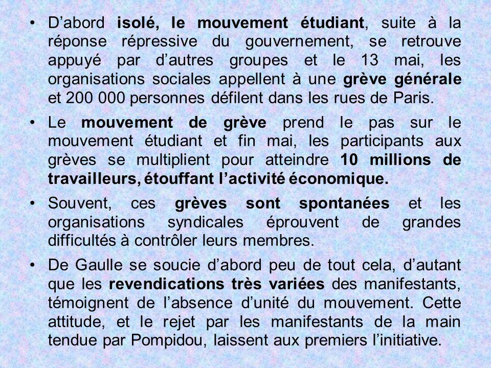 D'abord isolé, le mouvement étudiant, suite à la réponse répressive du gouvernement, se retrouve appuyé par d'autres groupes et le 13 mai, les organis