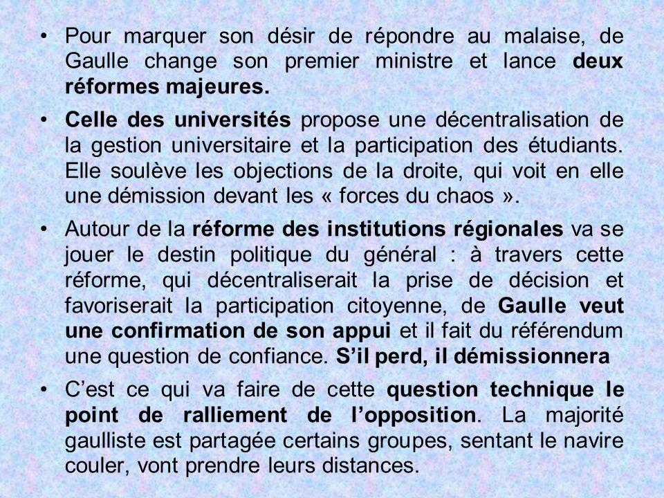 Pour marquer son désir de répondre au malaise, de Gaulle change son premier ministre et lance deux réformes majeures. Celle des universités propose un