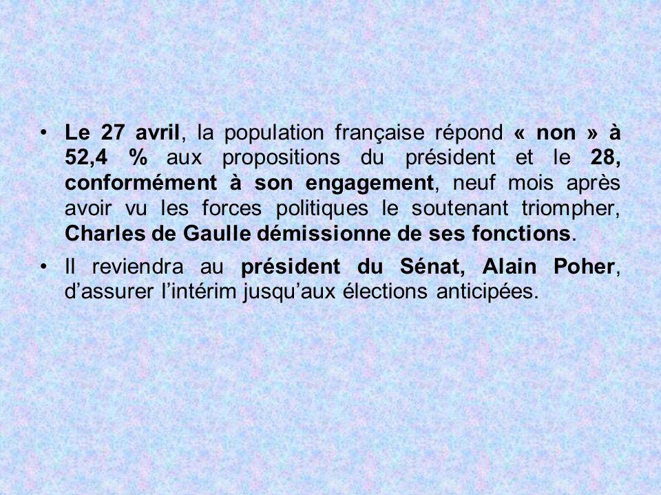 Le 27 avril, la population française répond « non » à 52,4 % aux propositions du président et le 28, conformément à son engagement, neuf mois après av