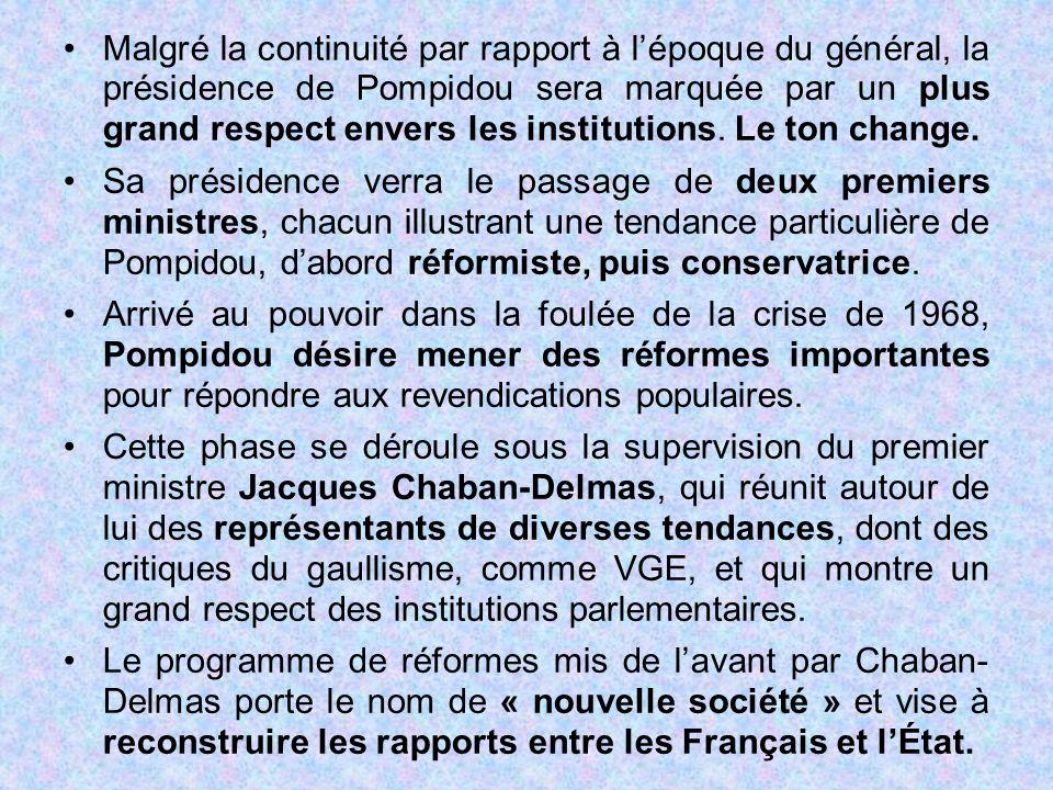 Malgré la continuité par rapport à l'époque du général, la présidence de Pompidou sera marquée par un plus grand respect envers les institutions. Le t