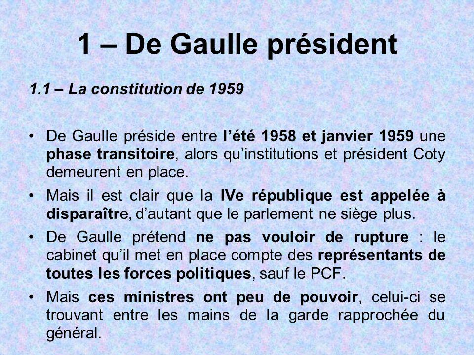 1 – De Gaulle président 1.1 – La constitution de 1959 De Gaulle préside entre l'été 1958 et janvier 1959 une phase transitoire, alors qu'institutions
