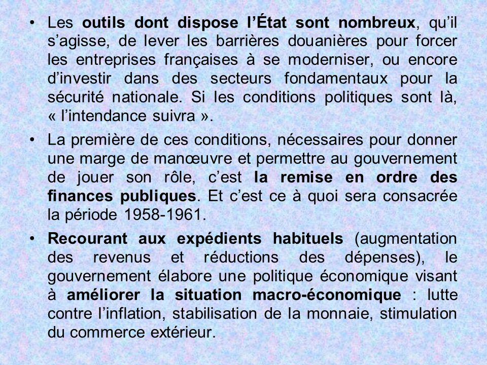 Les outils dont dispose l'État sont nombreux, qu'il s'agisse, de lever les barrières douanières pour forcer les entreprises françaises à se moderniser