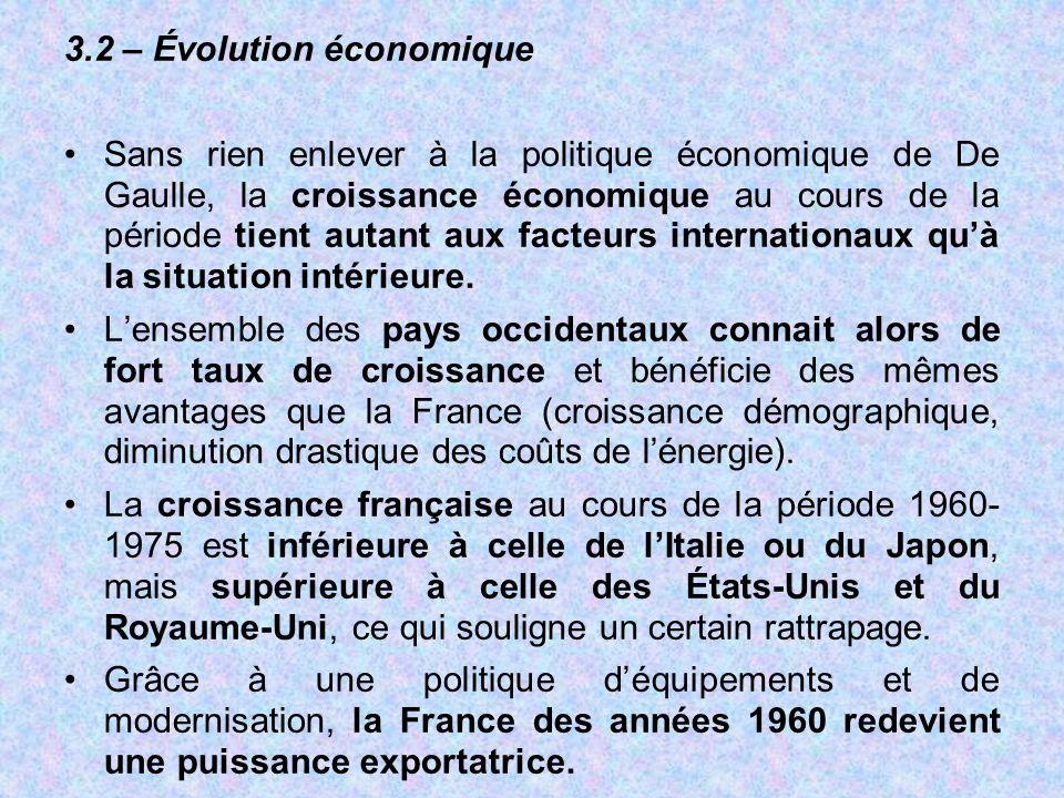 3.2 – Évolution économique Sans rien enlever à la politique économique de De Gaulle, la croissance économique au cours de la période tient autant aux