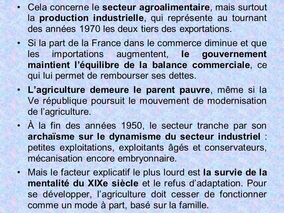 Cela concerne le secteur agroalimentaire, mais surtout la production industrielle, qui représente au tournant des années 1970 les deux tiers des expor