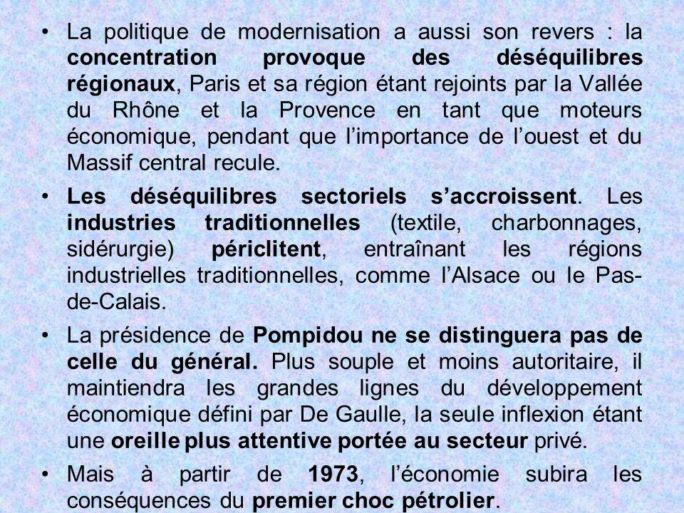 La politique de modernisation a aussi son revers : la concentration provoque des déséquilibres régionaux, Paris et sa région étant rejoints par la Val