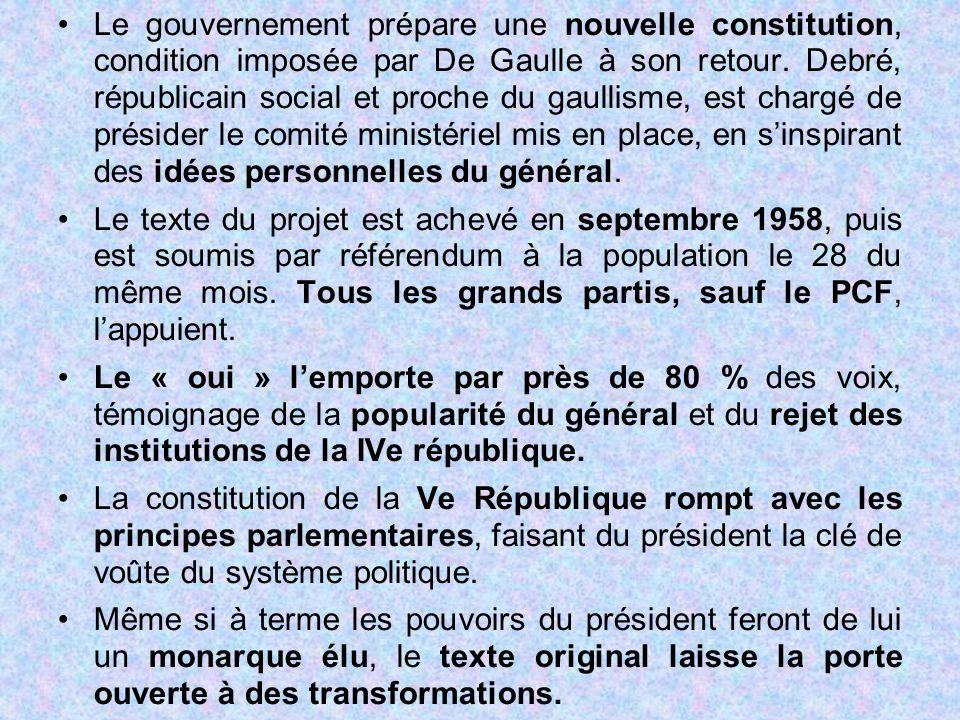 Le gouvernement prépare une nouvelle constitution, condition imposée par De Gaulle à son retour. Debré, républicain social et proche du gaullisme, est