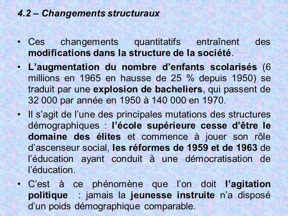 4.2 – Changements structuraux Ces changements quantitatifs entraînent des modifications dans la structure de la société. L'augmentation du nombre d'en