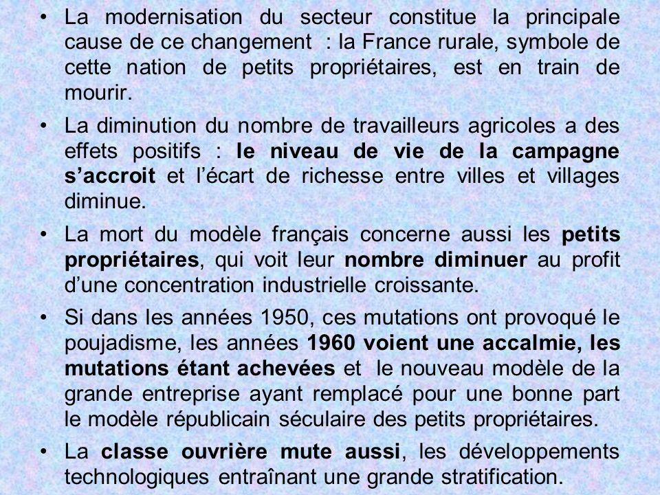 La modernisation du secteur constitue la principale cause de ce changement : la France rurale, symbole de cette nation de petits propriétaires, est en