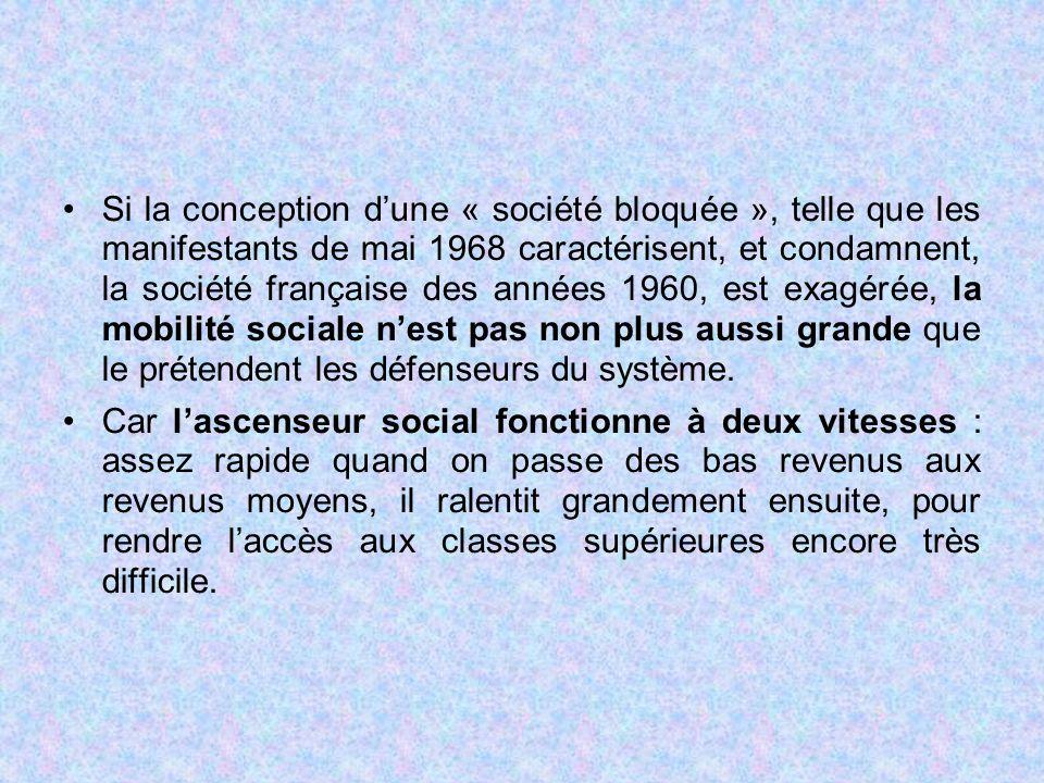 Si la conception d'une « société bloquée », telle que les manifestants de mai 1968 caractérisent, et condamnent, la société française des années 1960,