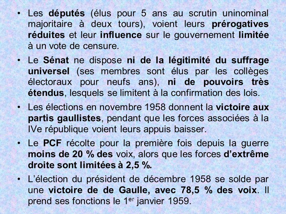 Les députés (élus pour 5 ans au scrutin uninominal majoritaire à deux tours), voient leurs prérogatives réduites et leur influence sur le gouvernement