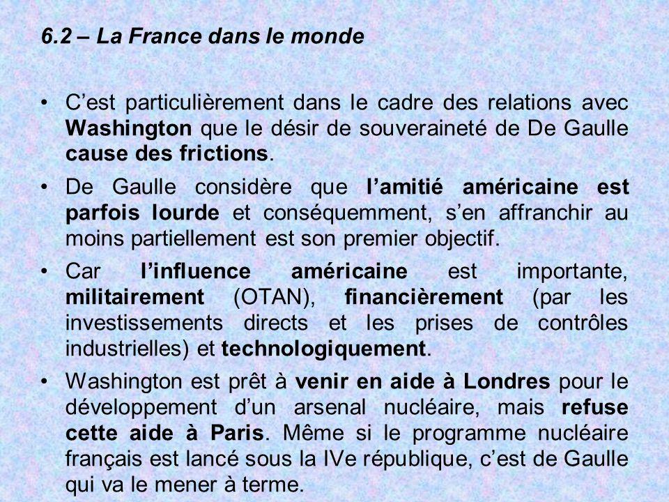 6.2 – La France dans le monde C'est particulièrement dans le cadre des relations avec Washington que le désir de souveraineté de De Gaulle cause des f
