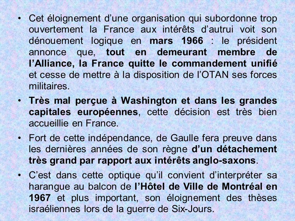 Cet éloignement d'une organisation qui subordonne trop ouvertement la France aux intérêts d'autrui voit son dénouement logique en mars 1966 : le prési