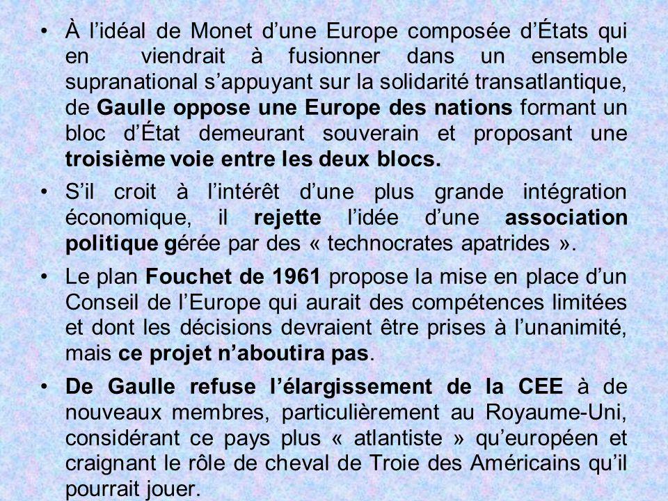 À l'idéal de Monet d'une Europe composée d'États qui en viendrait à fusionner dans un ensemble supranational s'appuyant sur la solidarité transatlanti