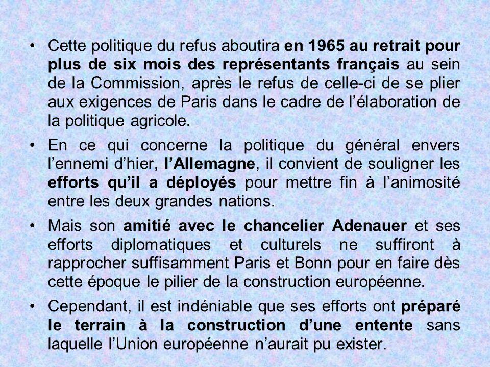 Cette politique du refus aboutira en 1965 au retrait pour plus de six mois des représentants français au sein de la Commission, après le refus de cell