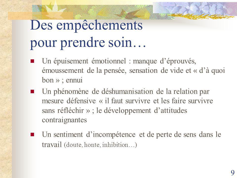 9 Des empêchements pour prendre soin… Un épuisement émotionnel : manque d'éprouvés, émoussement de la pensée, sensation de vide et « d'à quoi bon » ; ennui Un phénomène de déshumanisation de la relation par mesure défensive « il faut survivre et les faire survivre sans réfléchir » ; le développement d'attitudes contraignantes Un sentiment d'incompétence et de perte de sens dans le travail (doute, honte, inhibition…)