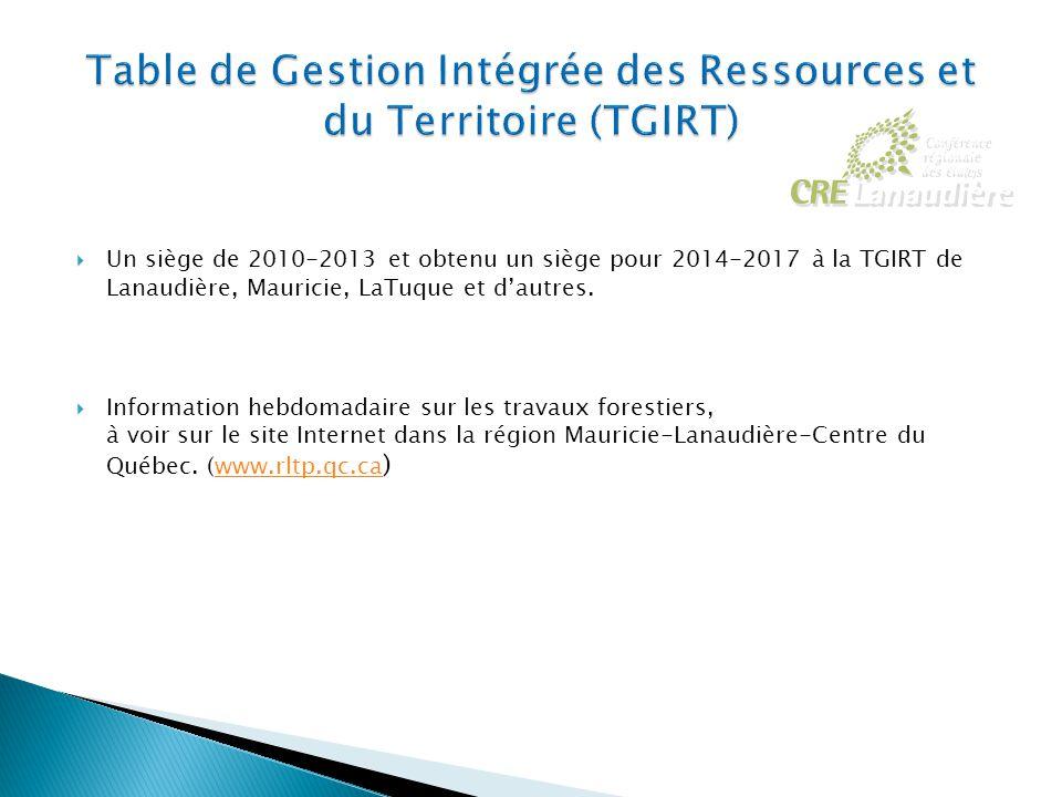  Un siège de 2010-2013 et obtenu un siège pour 2014-2017 à la TGIRT de Lanaudière, Mauricie, LaTuque et d'autres.