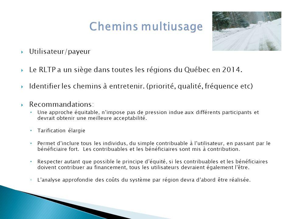  Utilisateur/payeur  Le RLTP a un siège dans toutes les régions du Québec en 2014.