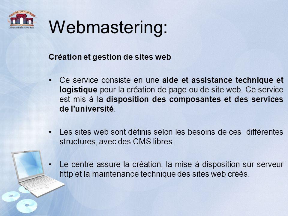 Webmastering: Création et gestion de sites web Ce service consiste en une aide et assistance technique et logistique pour la création de page ou de si