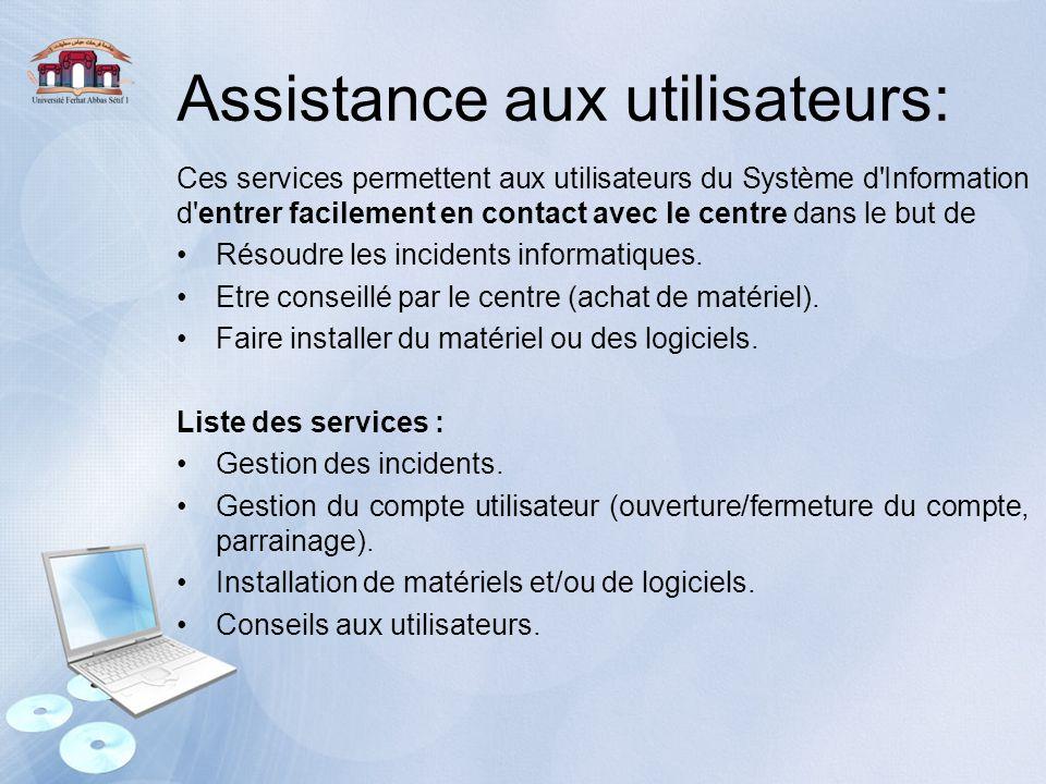 Assistance aux utilisateurs: Ces services permettent aux utilisateurs du Système d'Information d'entrer facilement en contact avec le centre dans le b