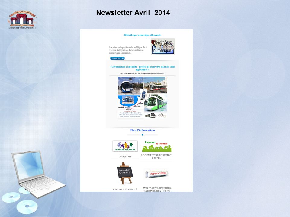 Newsletter Avril 2014