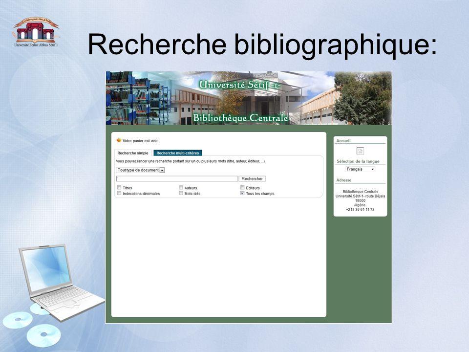 Recherche bibliographique: