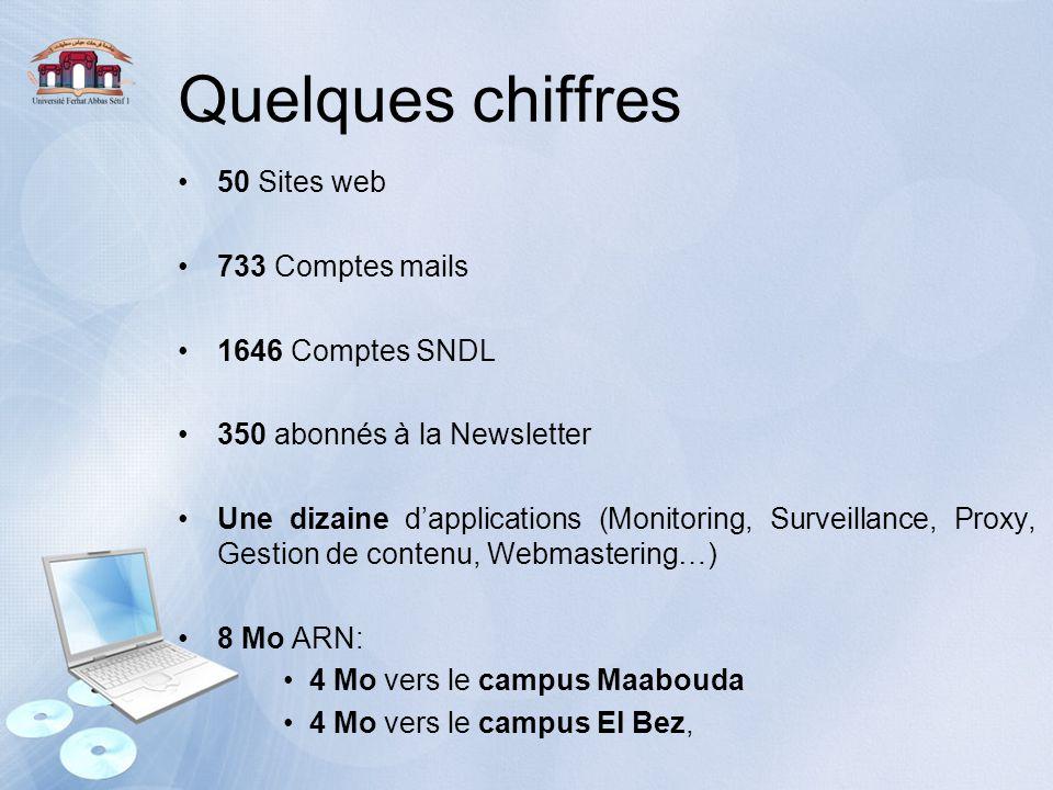 Quelques chiffres 50 Sites web 733 Comptes mails 1646 Comptes SNDL 350 abonnés à la Newsletter Une dizaine d'applications (Monitoring, Surveillance, P