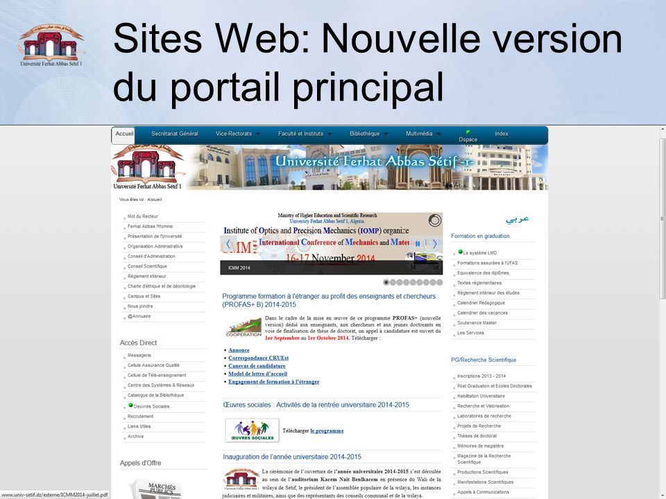 Sites Web: Nouvelle version du portail principal