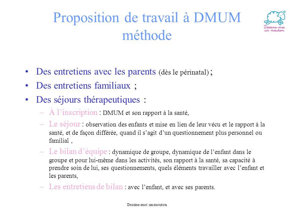 Dessine-moi un mouton Proposition de travail à DMUM méthode Des entretiens avec les parents (dès le périnatal) ; Des entretiens familiaux ; Des séjour