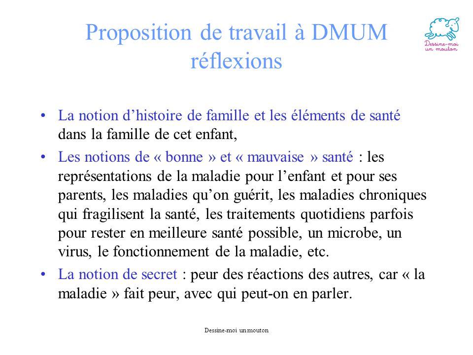 Dessine-moi un mouton Proposition de travail à DMUM réflexions La notion d'histoire de famille et les éléments de santé dans la famille de cet enfant,