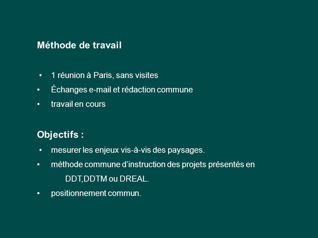 Méthode de travail 1 réunion à Paris, sans visites Échanges e-mail et rédaction commune travail en cours Objectifs : mesurer les enjeux vis-à-vis des