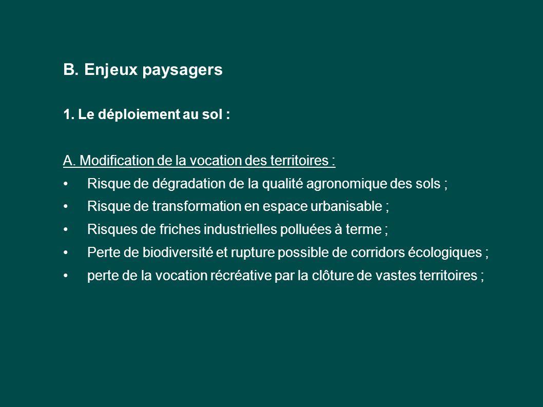 B. Enjeux paysagers 1. Le déploiement au sol : A. Modification de la vocation des territoires : Risque de dégradation de la qualité agronomique des so