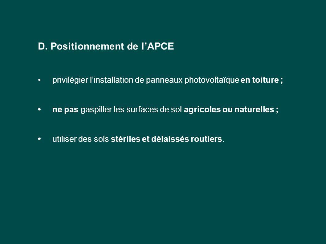 D. Positionnement de l'APCE privilégier l'installation de panneaux photovoltaïque en toiture ; ne pas gaspiller les surfaces de sol agricoles ou natur