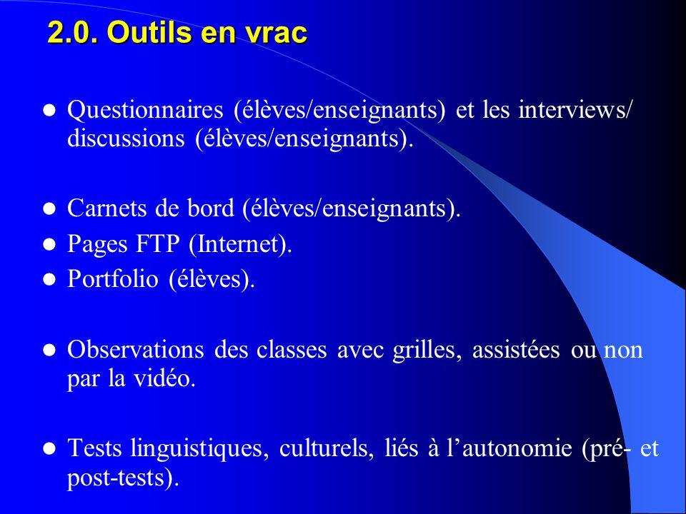 Questionnaires (élèves/enseignants) et les interviews/ discussions (élèves/enseignants).