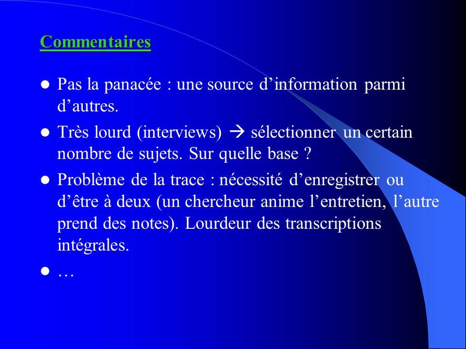 Commentaires Pas la panacée : une source d'information parmi d'autres. Très lourd (interviews)  sélectionner un certain nombre de sujets. Sur quelle