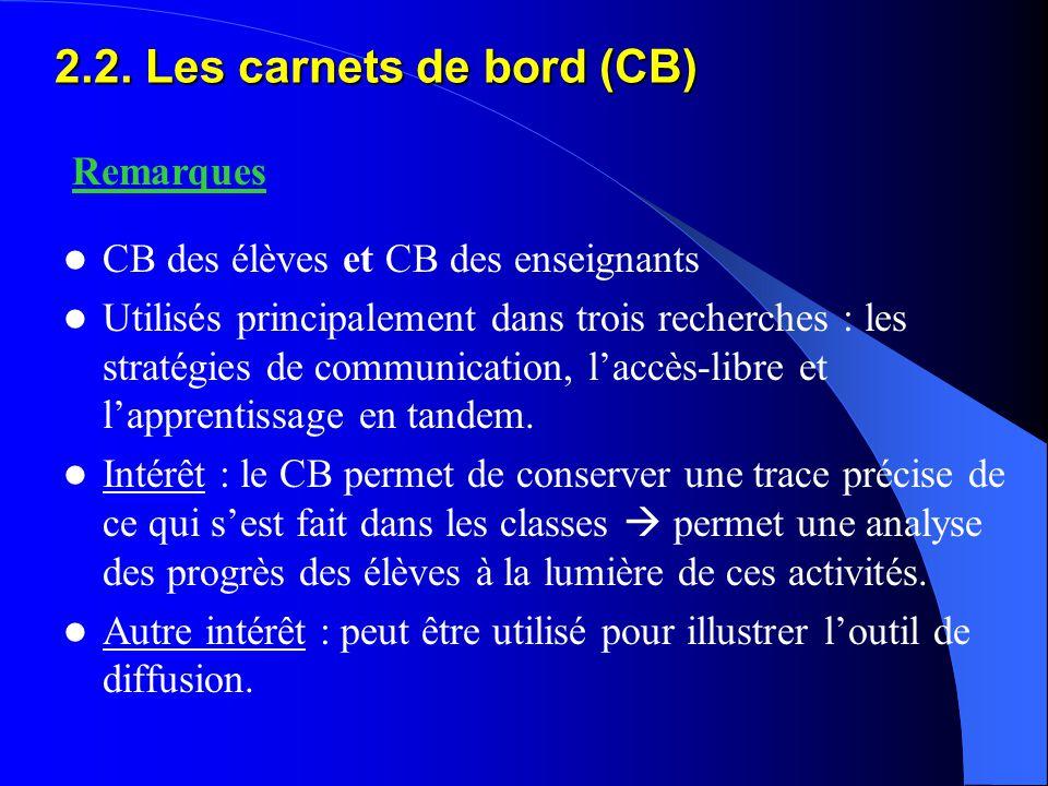 2.2. Les carnets de bord (CB) CB des élèves et CB des enseignants Utilisés principalement dans trois recherches : les stratégies de communication, l'a