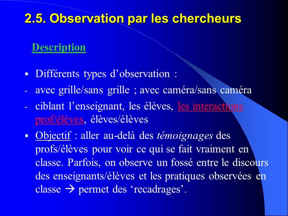 2.5. Observation par les chercheurs  Différents types d'observation : - avec grille/sans grille ; avec caméra/sans caméra - ciblant l'enseignant, les