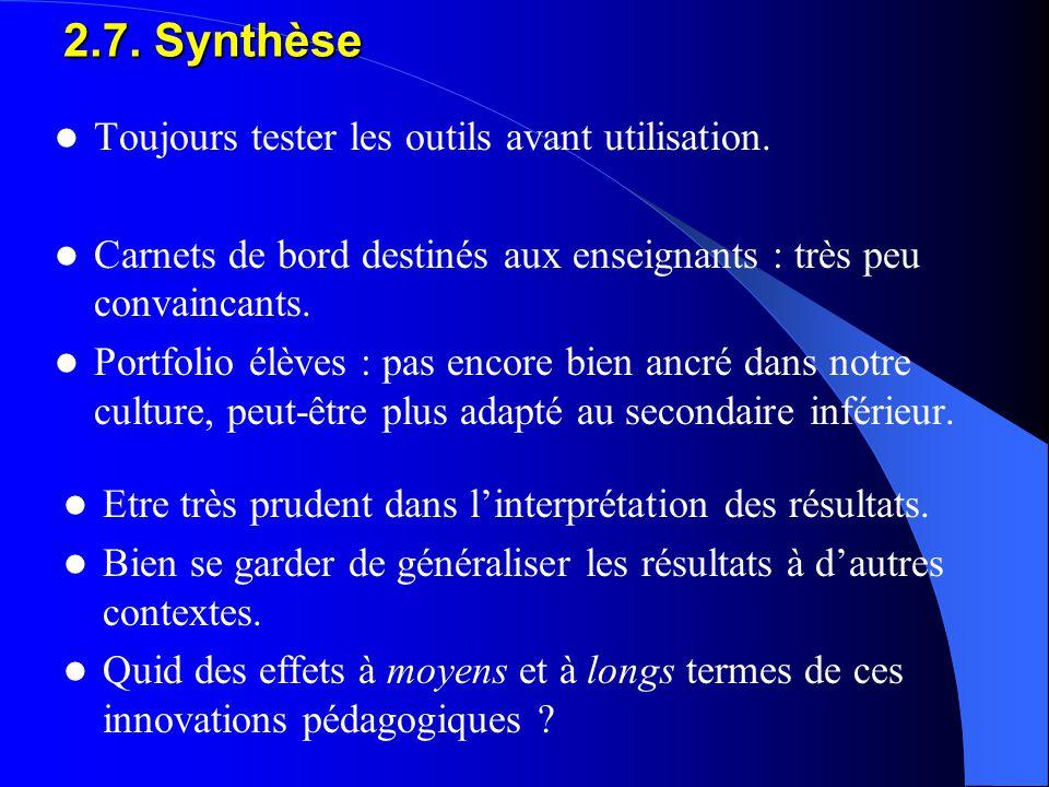 2.7. Synthèse Toujours tester les outils avant utilisation. Carnets de bord destinés aux enseignants : très peu convaincants. Portfolio élèves : pas e