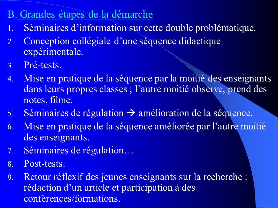 B. Grandes étapes de la démarche 1. Séminaires d'information sur cette double problématique. 2. Conception collégiale d'une séquence didactique expéri