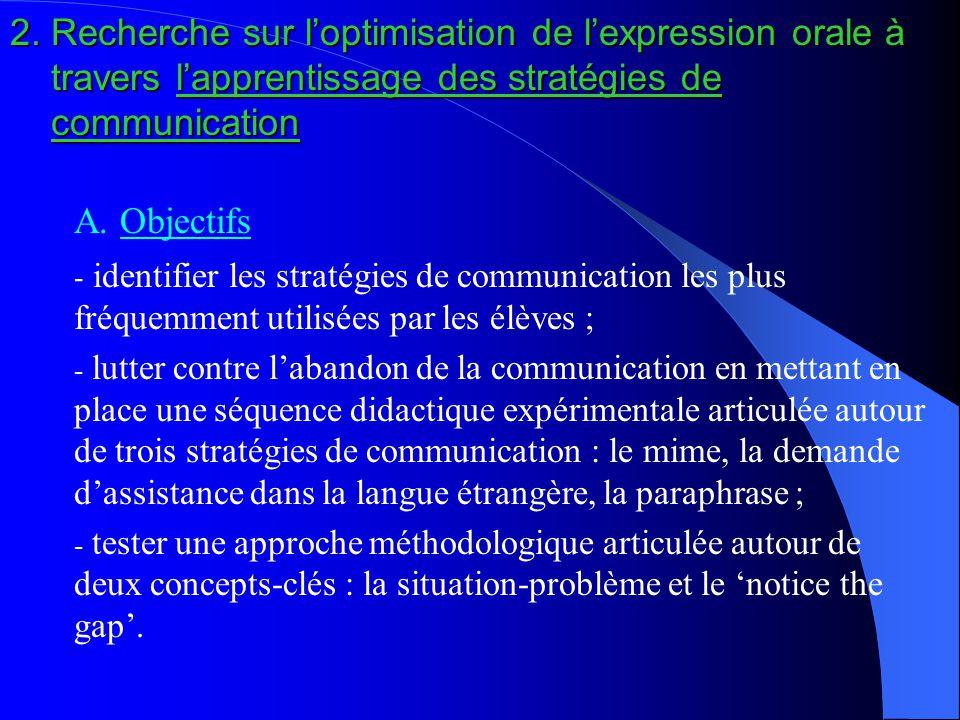 2. Recherche sur l'optimisation de l'expression orale à travers l'apprentissage des stratégies de communication A. Objectifs - identifier les stratégi