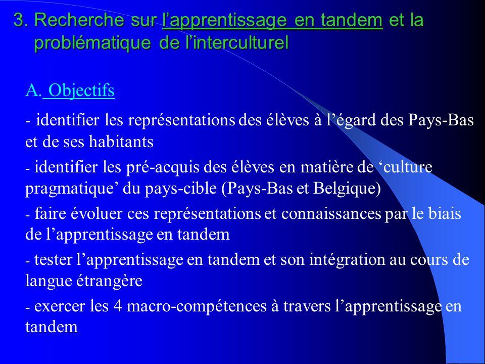 3. Recherche sur l'apprentissage en tandem et la problématique de l'interculturel A. Objectifs - identifier les représentations des élèves à l'égard d